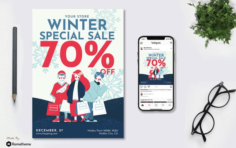 Зимняя распродажа - флаер и пост в Instagram vol.01 GR - шаблон фирменного стиля