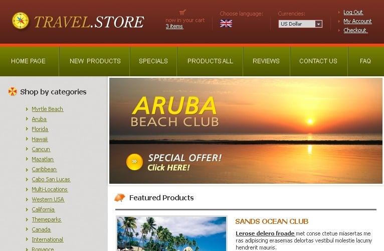 Travel Store ZenCart Template