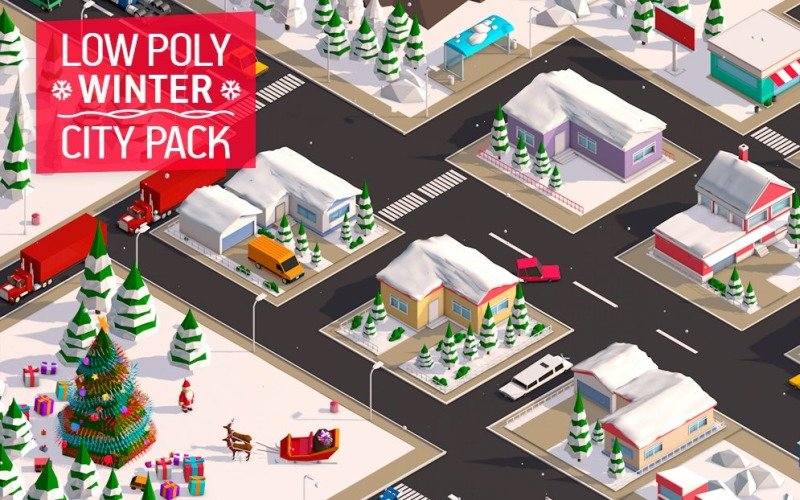 Low Poly City Winter Pack 3D Model