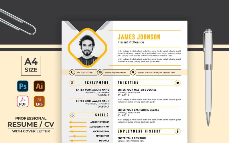 Modern Minimalist Professional CV Resume Template