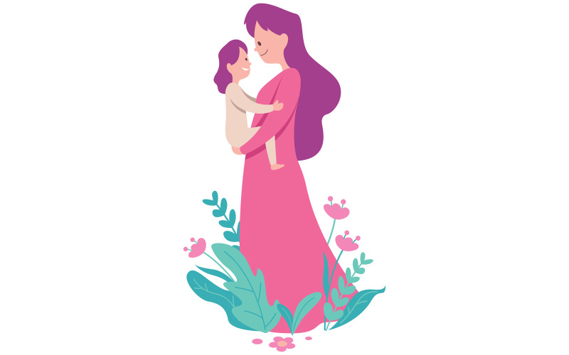 Mother and Child on White - Illustration