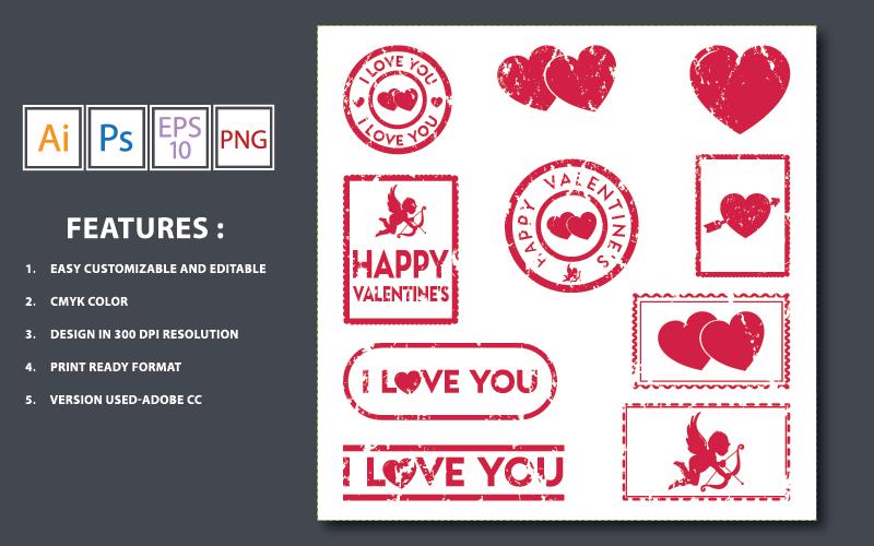 Valentine Stamps Vector Design - Illustration