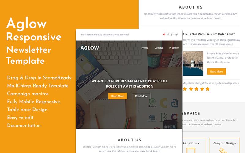 Aglow - Responsieve e-mailsjabloon met bouwer-nieuwsbriefsjabloon