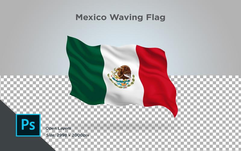 Vlající vlajka Mexika - ilustrace