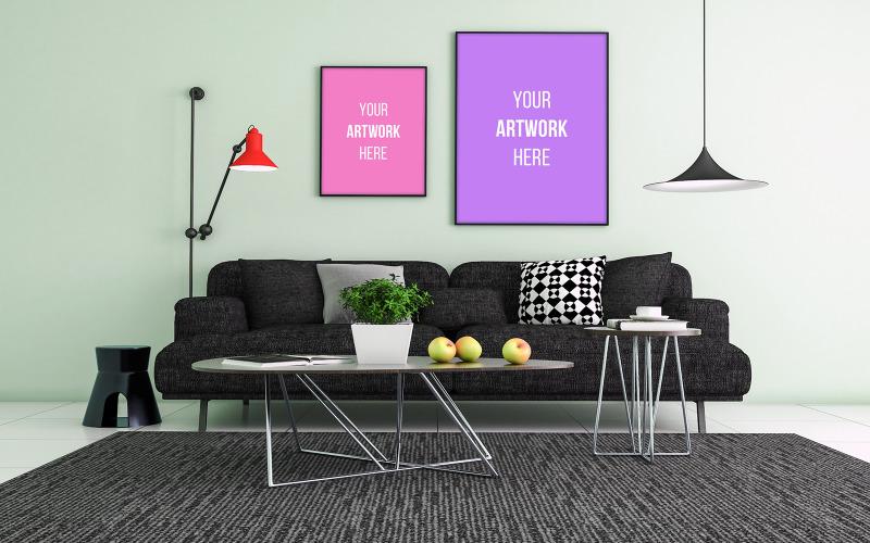 Maketa dvou prázdných fotorámečků s černou pohovkou a konferenčním stolkem v interiéru obývacího pokoje