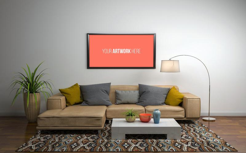 Maketa horizontální fotorámeček v moderním obývacím pokoji s pohovkou 3d vykreslování maketa produktu