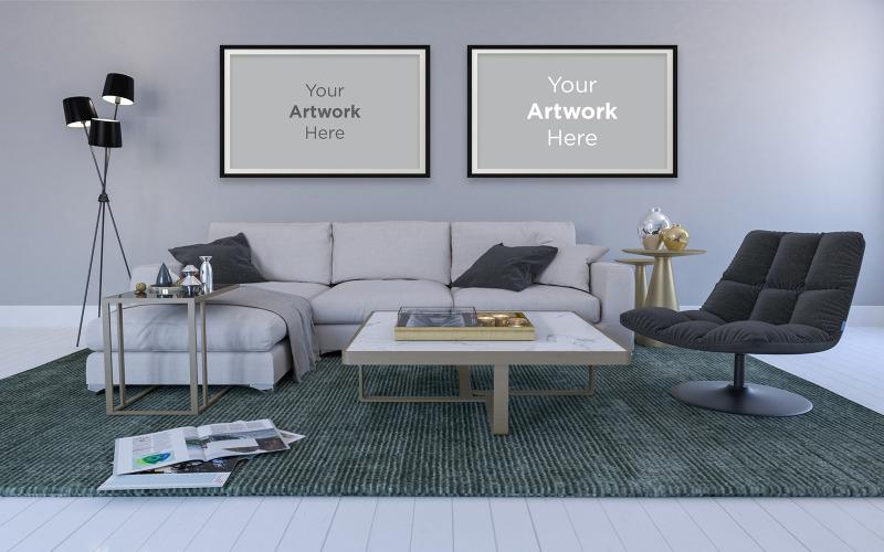 Interiér moderního obývacího pokoje s pohovkou lampy prázdný fotorámeček maketa design produktu maketa