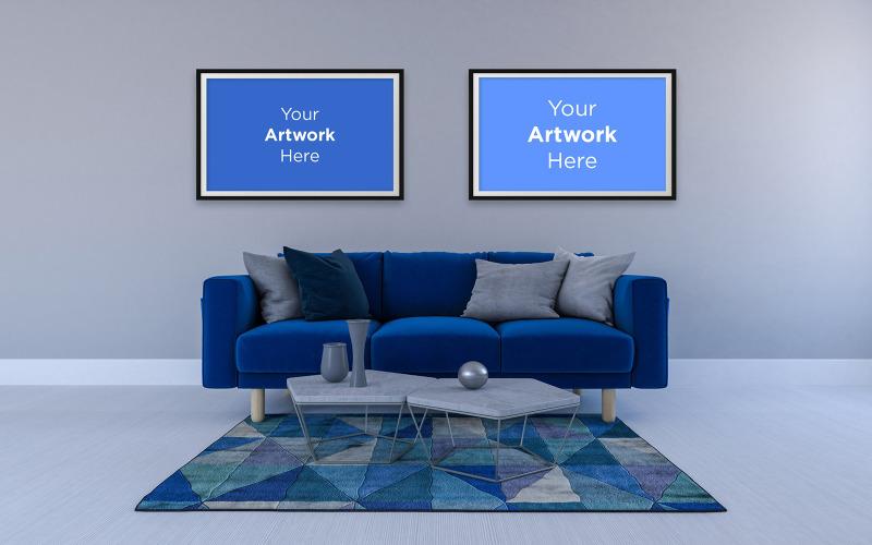 Obývací pokoj interiérová pohovka se stoly a maketa prázdného fotorámečku designový model produktu