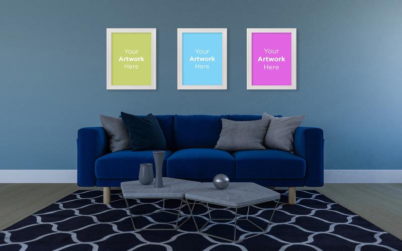 Prázdné fotorámečky minimální obývací pokoj s modrou pohovkou a maketou výrobku