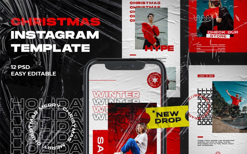 Vánoční hype PSD Instagram PSD šablona