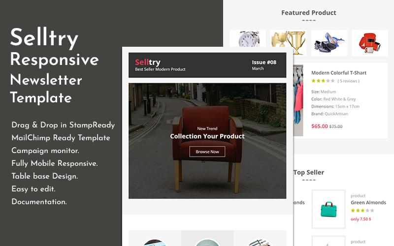 Selltry - Modelo de boletim informativo por e-mail responsivo para comércio eletrônico