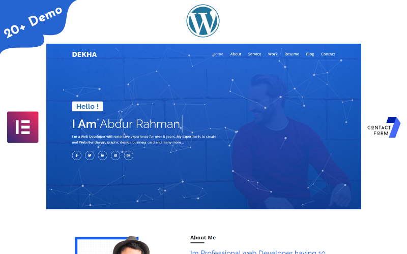 Dekha-Portfolio / Resume / CV Jedna strona Motyw WordPress Elementor