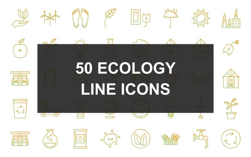 10 - Набор иконок градиента линии экологии
