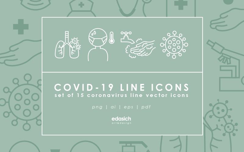 Набор иконок линии Covid-19 - векторное изображение
