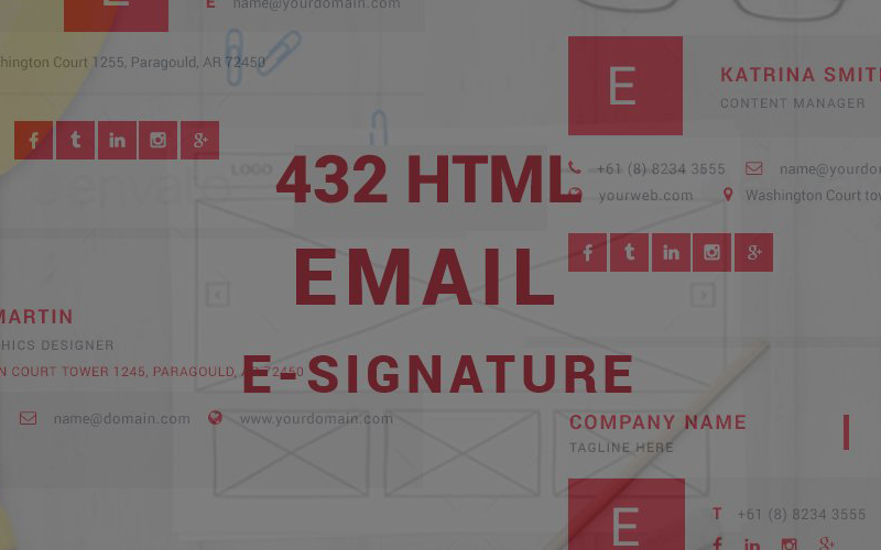432 PSD-Html Email Esignatures Template Infographic Elements