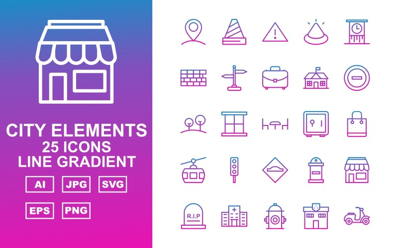Набор из 25 элементов градиента линии премиум-класса