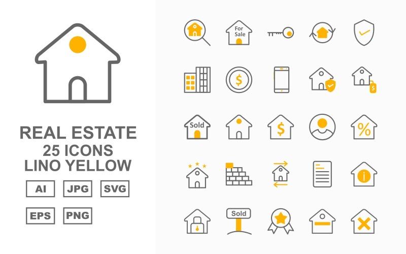 Набор из 25 желтых значков премиум-класса Lino Real Estate