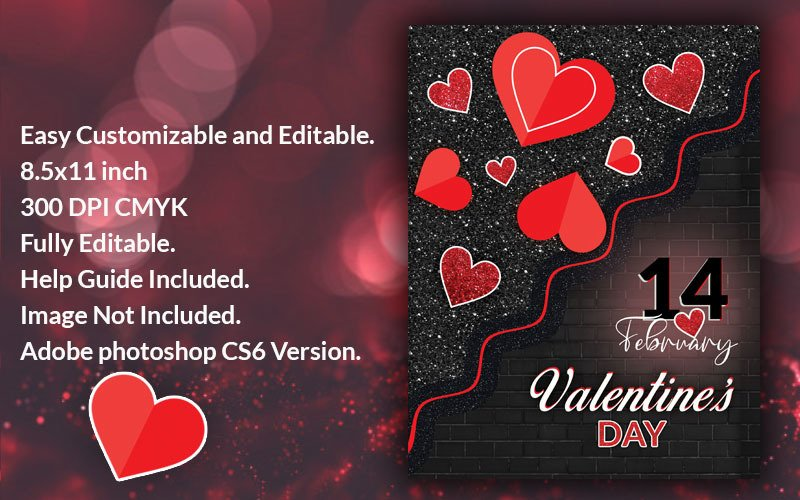 Valentines Day Poster PSD Template