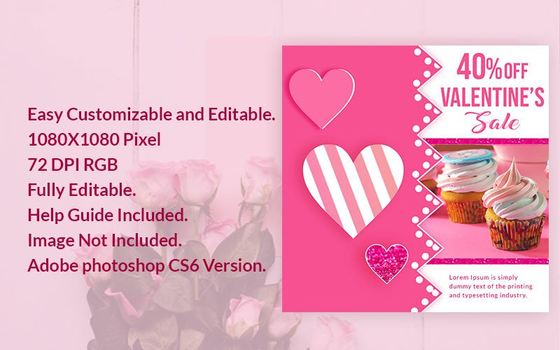 Valentines Sale Banner PSD Template