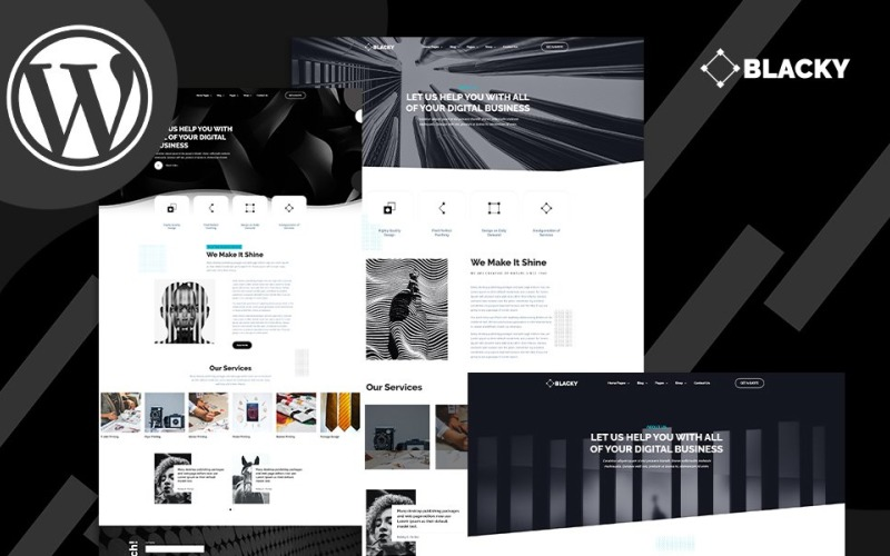 Motyw WordPress Blacky Minimal Dark Digital Agency