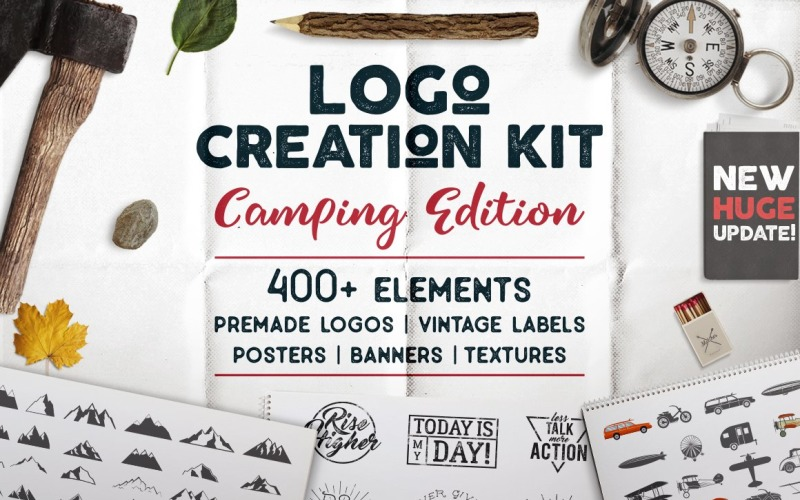 Creation Kit - Camping Bundle Edition. Cricut Files Dxf Logo Template