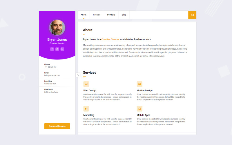Bryan - CV / CV / Portfolio / Personligt WordPress-tema