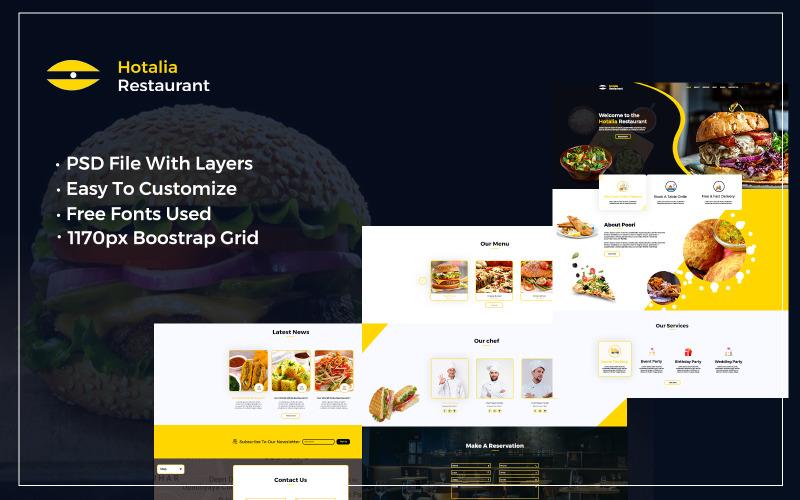 Hotalia - Modèle PSD Web d'une page pour restaurants et hôtels