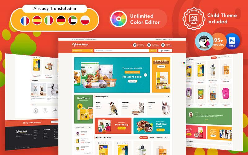 Tema PrestaShop adaptable para tienda de alimentos para mascotas