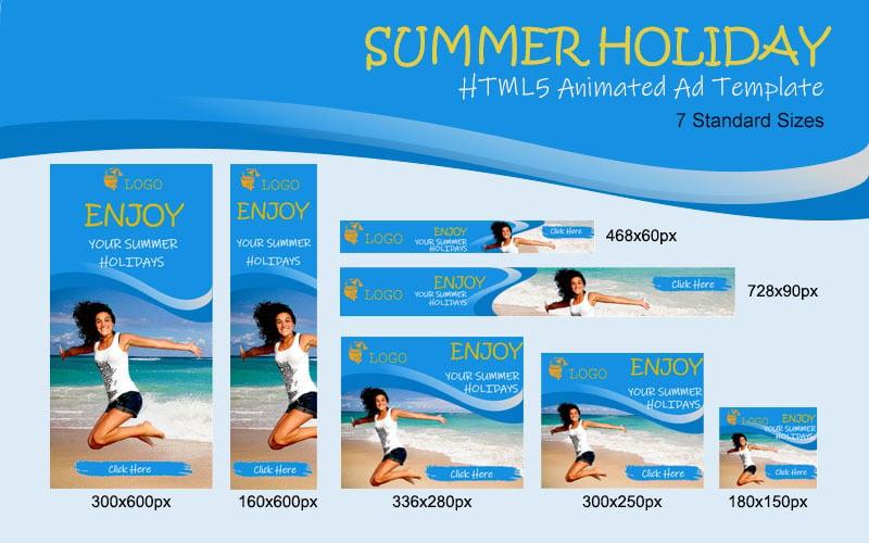 Banner animado de anuncio HTML5 de vacaciones de verano