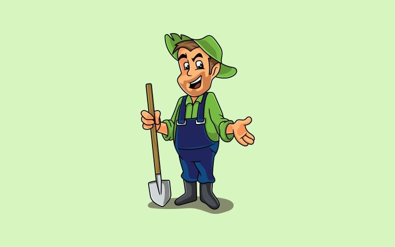 Logotipo de la mascota del granjero
