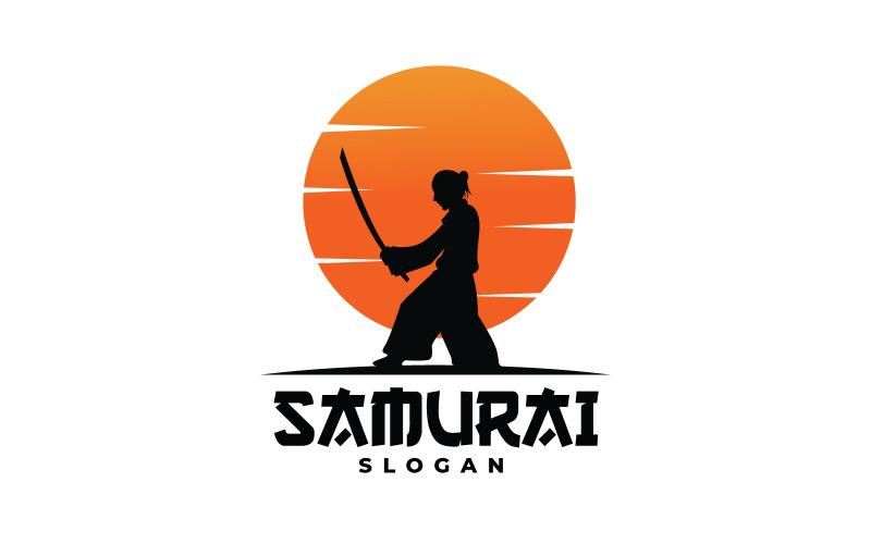 Sonnenuntergang mit Samurai Logo Vorlage