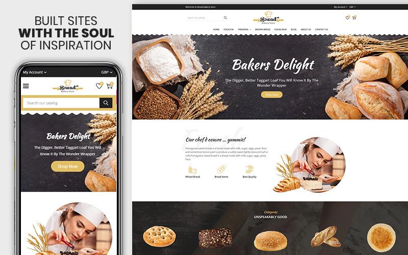 Bread Bakery: el tema premium de Shopify de Bread & Bakery Food