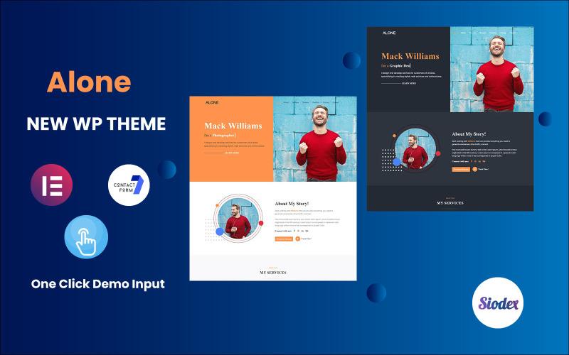 Alone-Portfolio/Resume/CV One page WordPress Elementor Theme