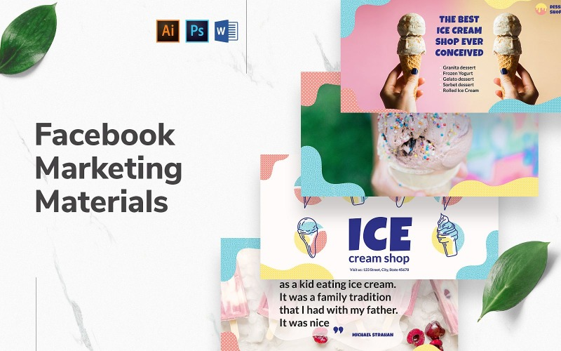 Ice Cream Shop Facebook Cover and Post Social Media Template