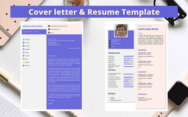 Professional No 14 - Modern Purple & Pink Resume