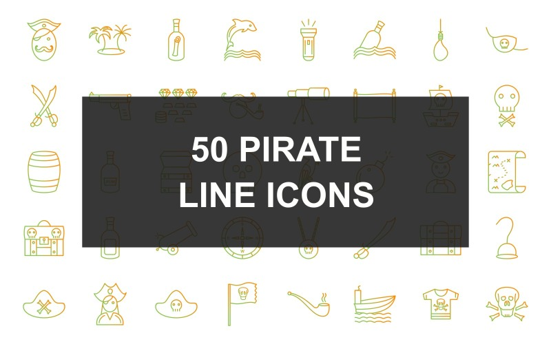 Набор иконок из 50 пиратских линий