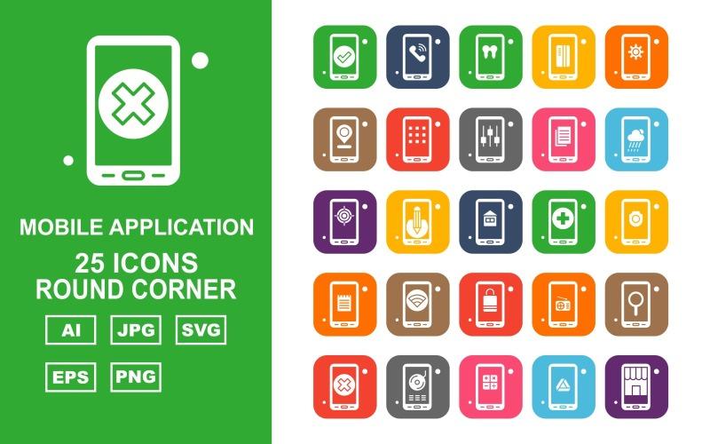 25 премиальных мобильных приложений с круглым углом Icon Pack