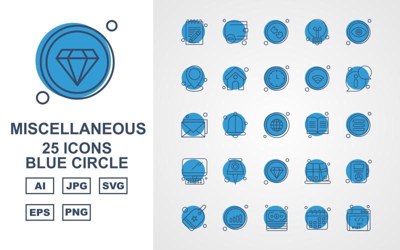 25 премиальных иконок с синим кругом