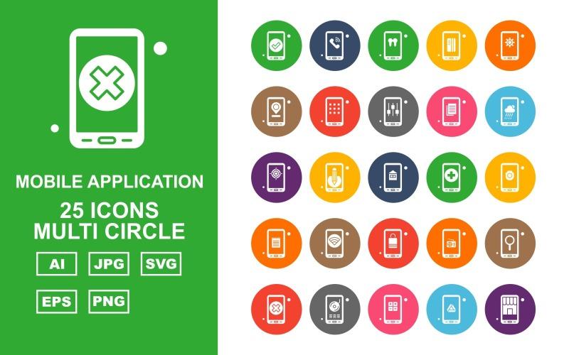 25 премиальных мобильных приложений Multi Circle Icon Pack