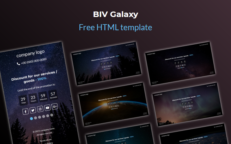 BIV Galaxy - Free Coming Soon HTML Template Specialty Page