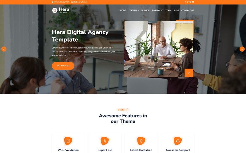 Hera - Digital Agency One page WordPress Theme