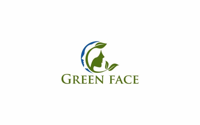 Шаблон логотипа зеленое лицо