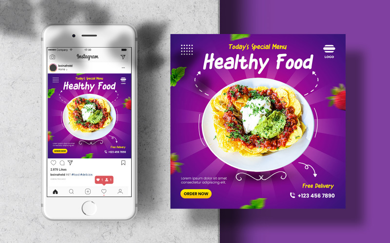 Шаблон баннера Food Instagram для социальных сетей