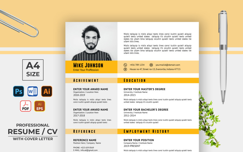 Resume Format CV Template Simple Design