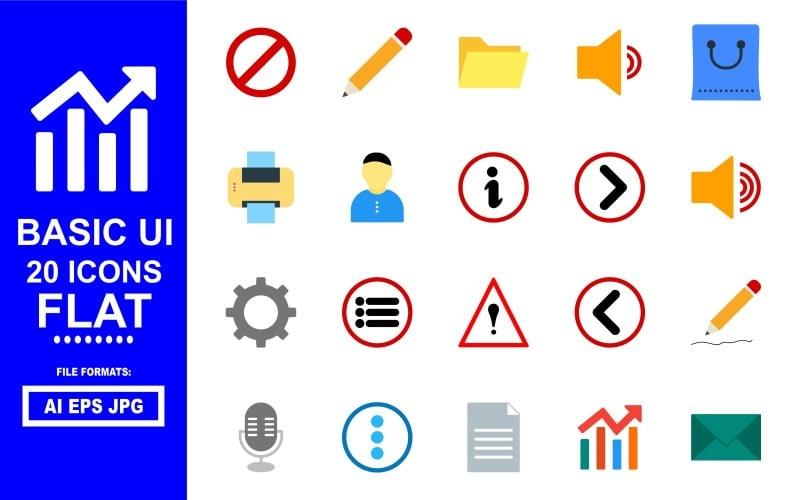 20 Basic UI Flat Icon Pack
