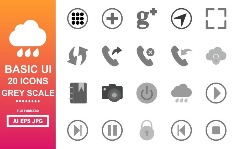 20 Grundlegendes Graustufen-Symbolpaket für die Benutzeroberfläche