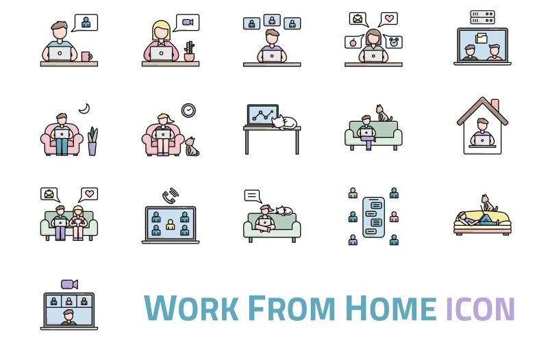 Arbeiten von zu Hause aus Iconset-Vorlage