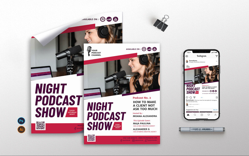 Podcast Band 2 - Flyer, Poster RB Corporate Identity