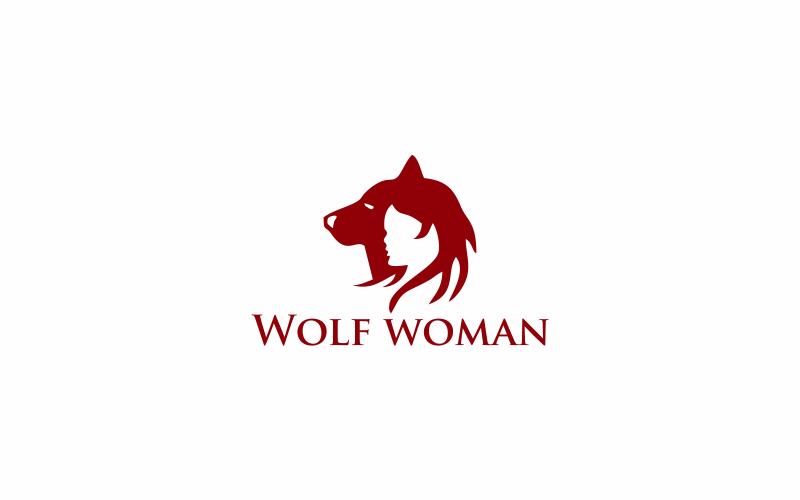 Wolf Frau Logo Vorlage