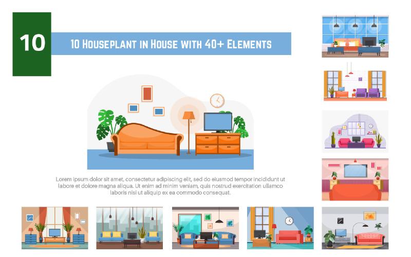 10 Zimmerpflanze im Haus mit mehr als 40 Elementen - Abbildung